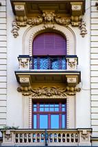 terrace and purple shutters in Switzerland