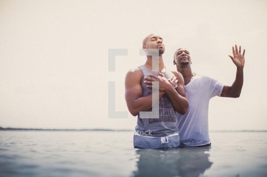 Baptism in the ocean.