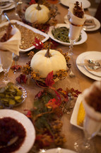 decorations on a Thanksgiving dinner table