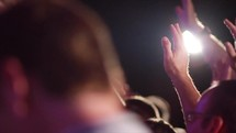 swaying hands during a worship service