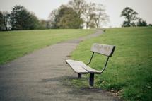empty park bench in Meersbrook Park
