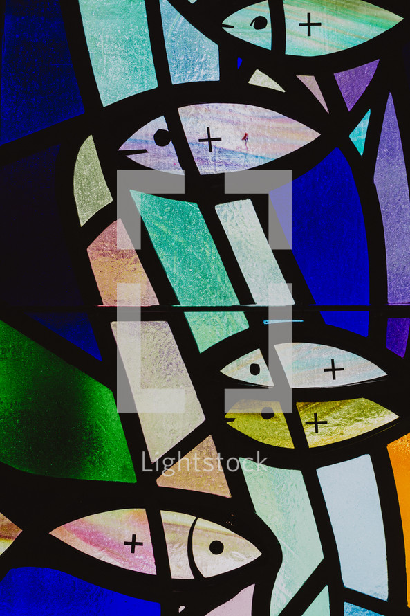fish stained glass window