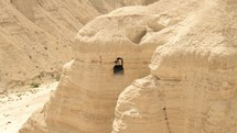 Pan of a cave in Qumran, Israel where the Dead Sea Scrolls were found.