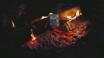 roasting marshmallows over a fire  (slow motion, 24fps)