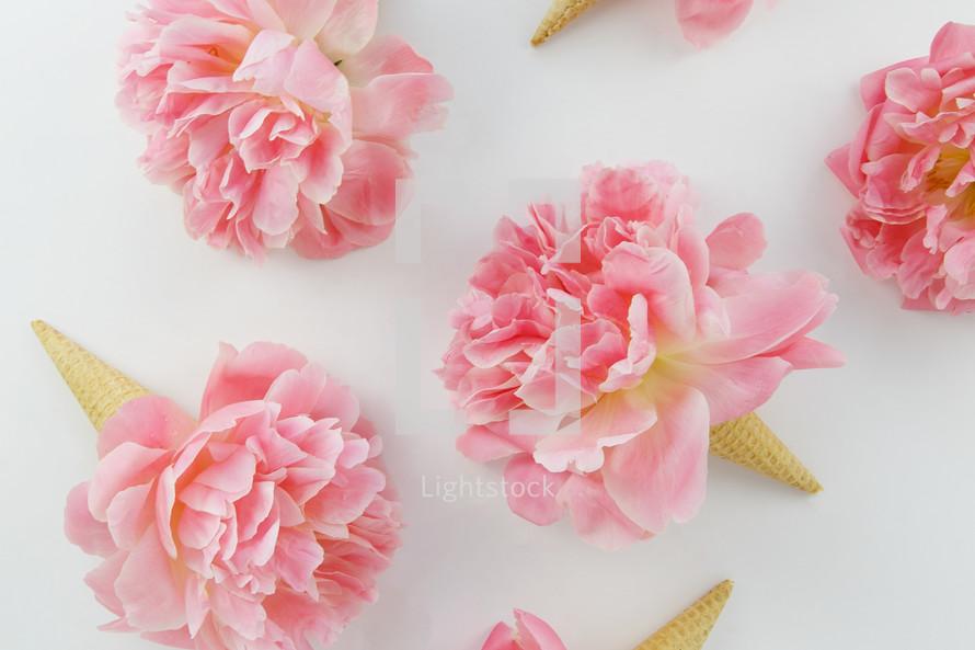pink spring flowers in ice cream cones
