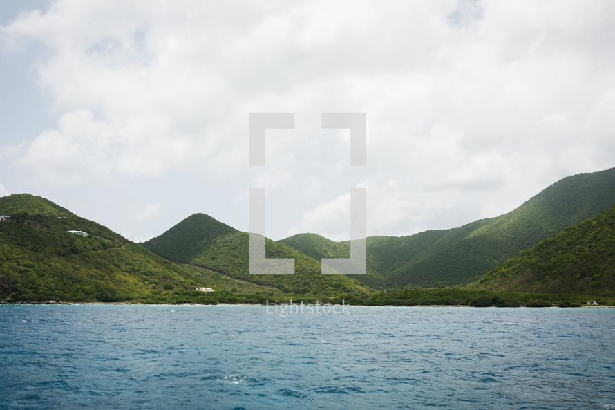green mountainous island