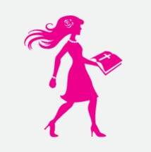 woman in pink walking carrying a Bible