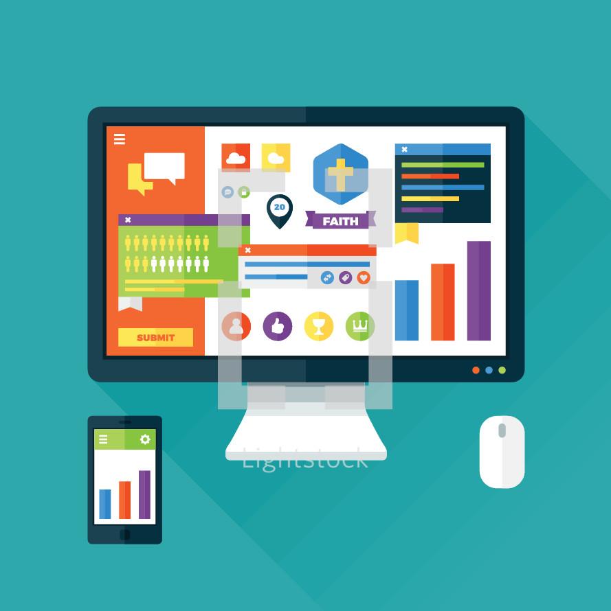 Web interface icons and hardware illustration