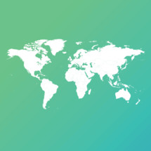white world map in blue and green background gradient