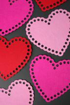 pink, fuchsia, and white hearts