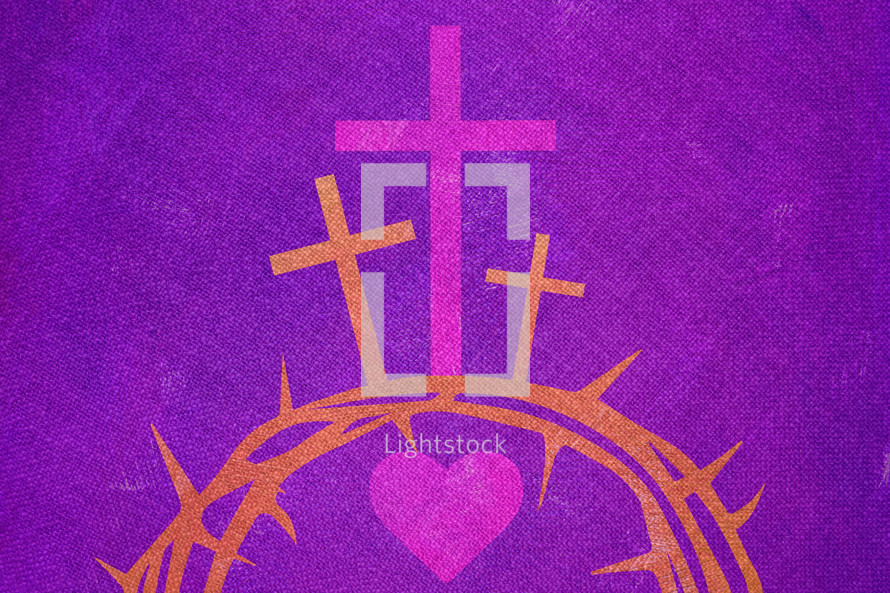 cross hearts and crown of thorns