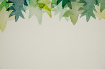 green leaves in watercolor border.
