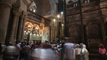 Shots inside the church of the Holy Sepulcher, the traditional site of Jesus' resurrection.