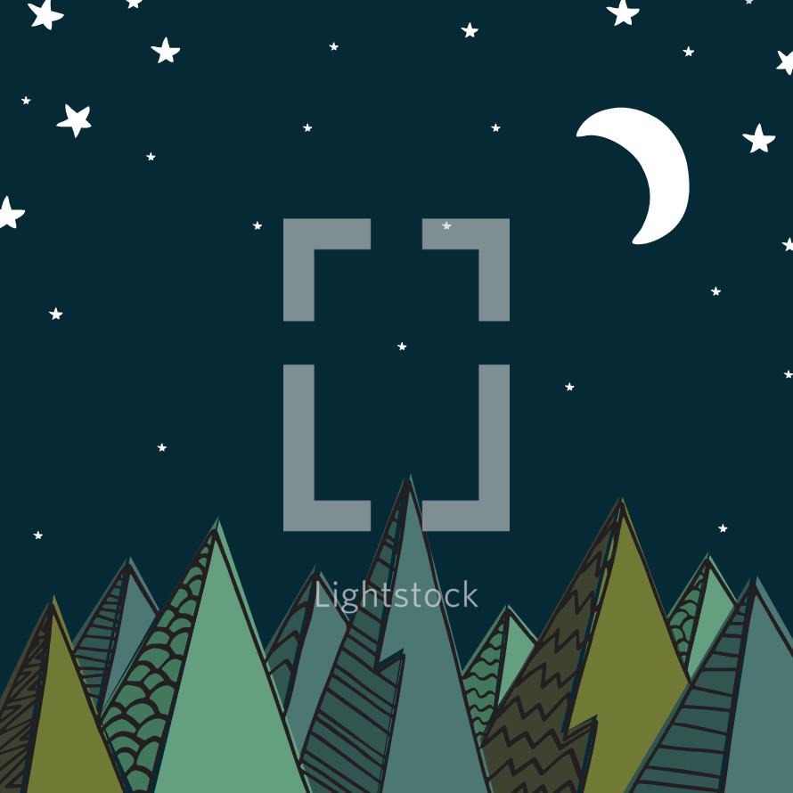 mountain scene at night illustration