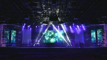 setting up a stage for a performance