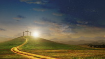 The road to the cross and salvation concept. Three crosses on a hill with moving clouds background. Easter and resurrection concept. Seamless looping