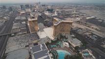 Aerial View of Las Vegas strip at Sunset