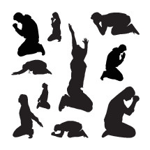 silhouettes of a men and women praying and worshipping.