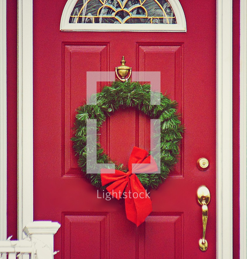 Christmas wreath on a front door