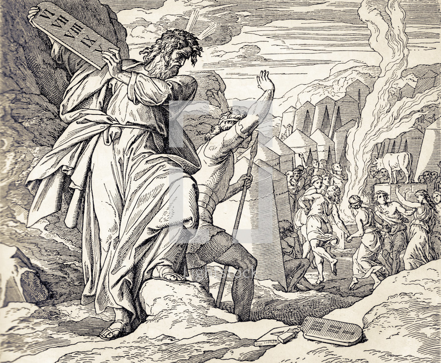 Moses Destroys the Tablets, Exodus 32:1-19