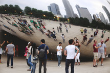 crowd near iconic sculpture in Chicago