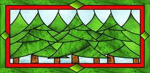 A stained glass window depicting a row of Christmas Trees framed by a red and green border.