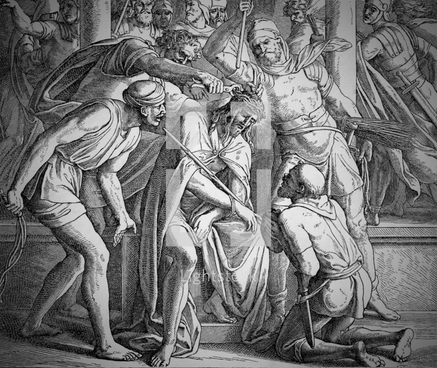 Torture of Jesus prior to crucifixion, Mark 15: 15-19