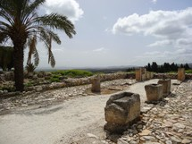 """Remains of horse stables and feeding troughs at Megiddo (""""Armageddon"""")"""