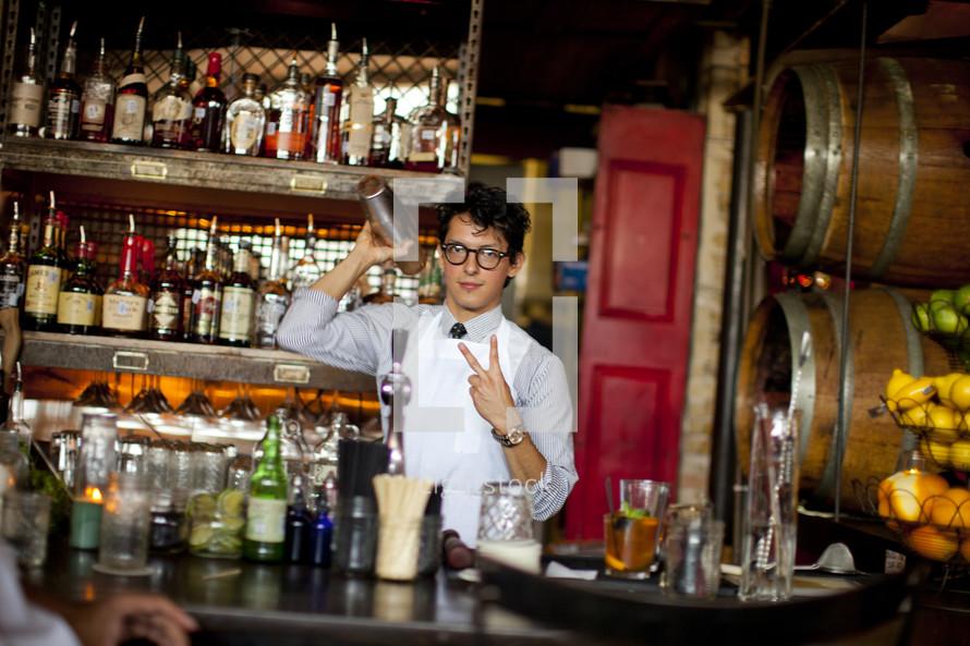 bartender and bar