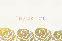 Thank you and flower border in gold