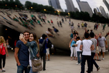 couple, selfie, taking a picture, sculpture, iconic, art museum, Chicago