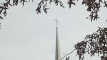 church steeple and fall leaves