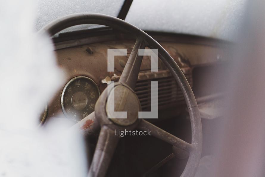 rusty old steering wheel