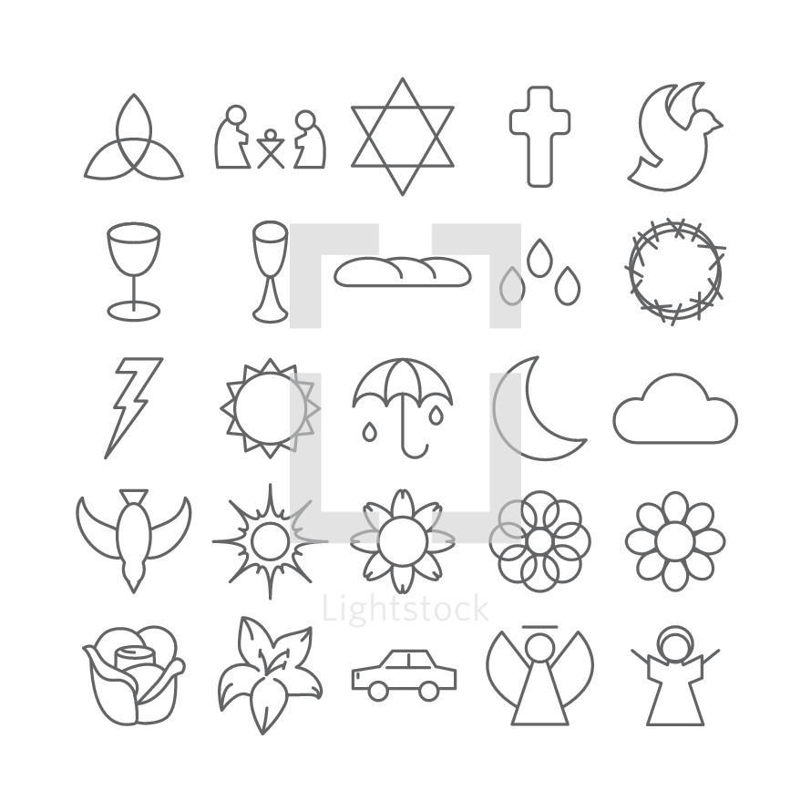 simple line, sketches, rose, flower, bud, car, angel, choir, dove, holy spirit, sun, rain, umbrella, spring, icons, lightning, lightning bolt, moon, crescent moon, cloud, star of David, trinity, cross, manger scene, communion, blood, drops, droplets, bread, wine, chalice, cup, crown of thorns, biblical scene
