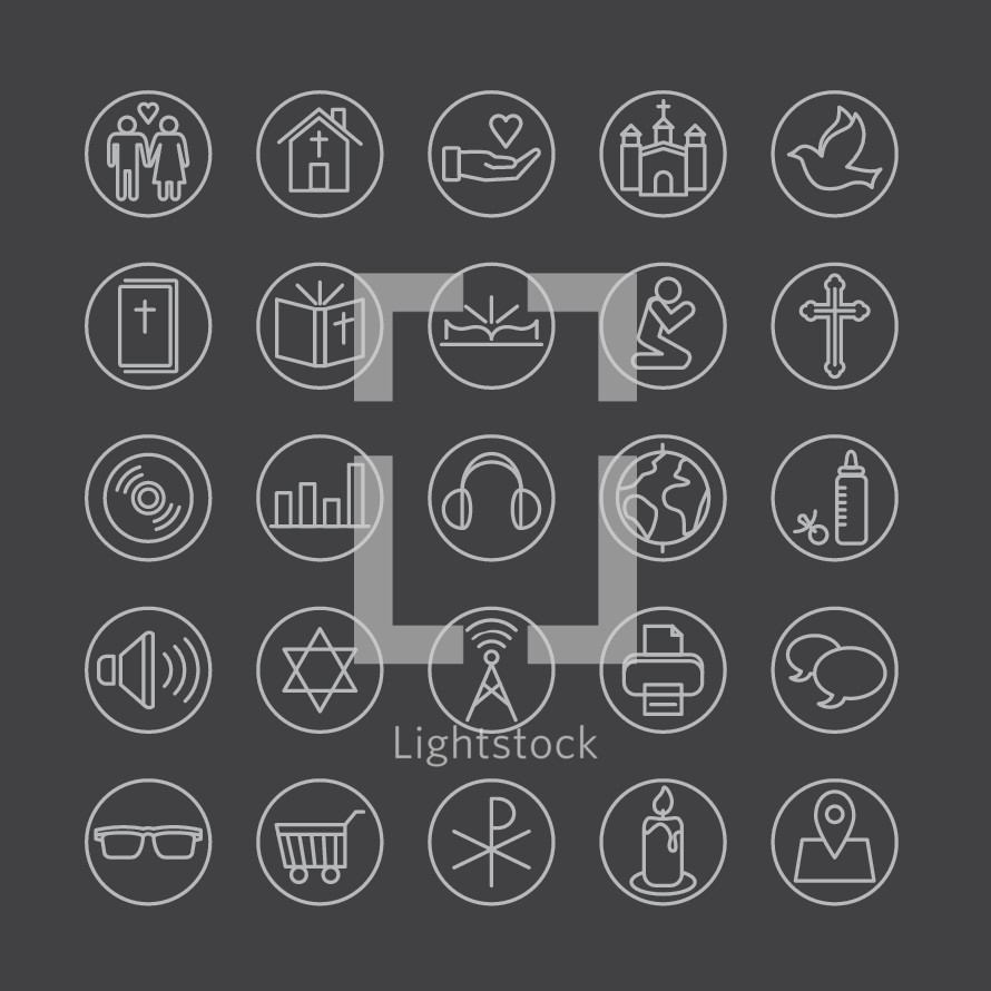 Simple line icons set, marriage, love, man, woman, family, worship, homosexuality, gay, home, give, church, Jesus, dove, holy spirit, bible, bible study, prayer, praying, cross, disc, media, music, sound, headphones, globe, world, missions, iconic, baby, pacifier, bottle, listen, star of David, Jewish, radio, broadcast, print, printer, icon, speech bubble, friend, friends, chat, glasses, hipster, shopping, cart, Chi Rho, candle, location.