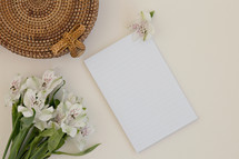 flowers and blank white paper