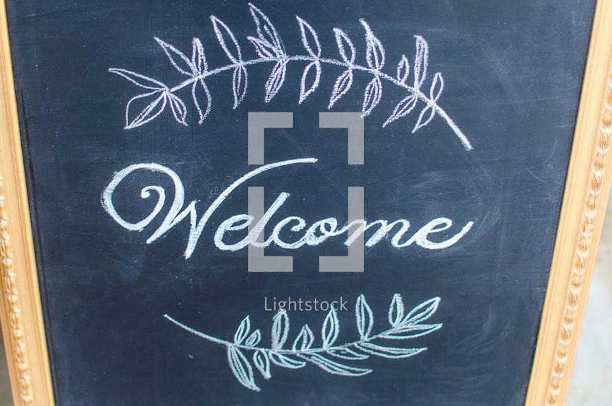 welcome on a chalkboard