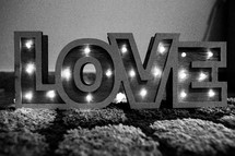 Decorative Love Lights in Black and White