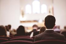 attending a church service