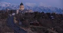road heading towards the Utah capitol building
