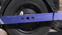 spinning wheel on a one wheel skateboard