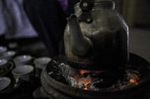 coffee pot on coals