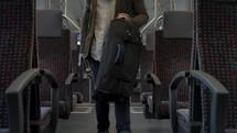 passenger on a commuter train