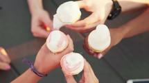 cheers over ice cream
