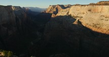 shadows falling on a canyon in Zion National Park