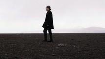 a man walking on flat land