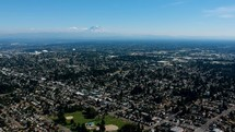 aerial view over Tacoma Mt. Rainier Washington