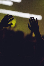 Silhouette of hands raised in worship.