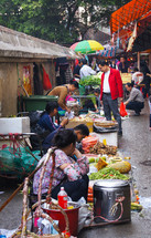 Chinese vegetable street market