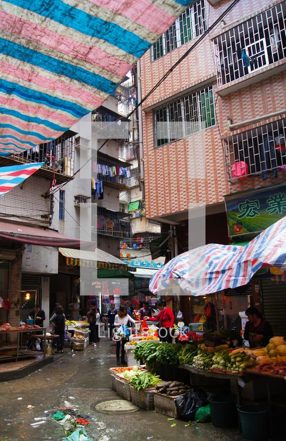 A busy market street